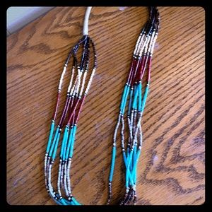 Beaded necklace turquoise black brown colors